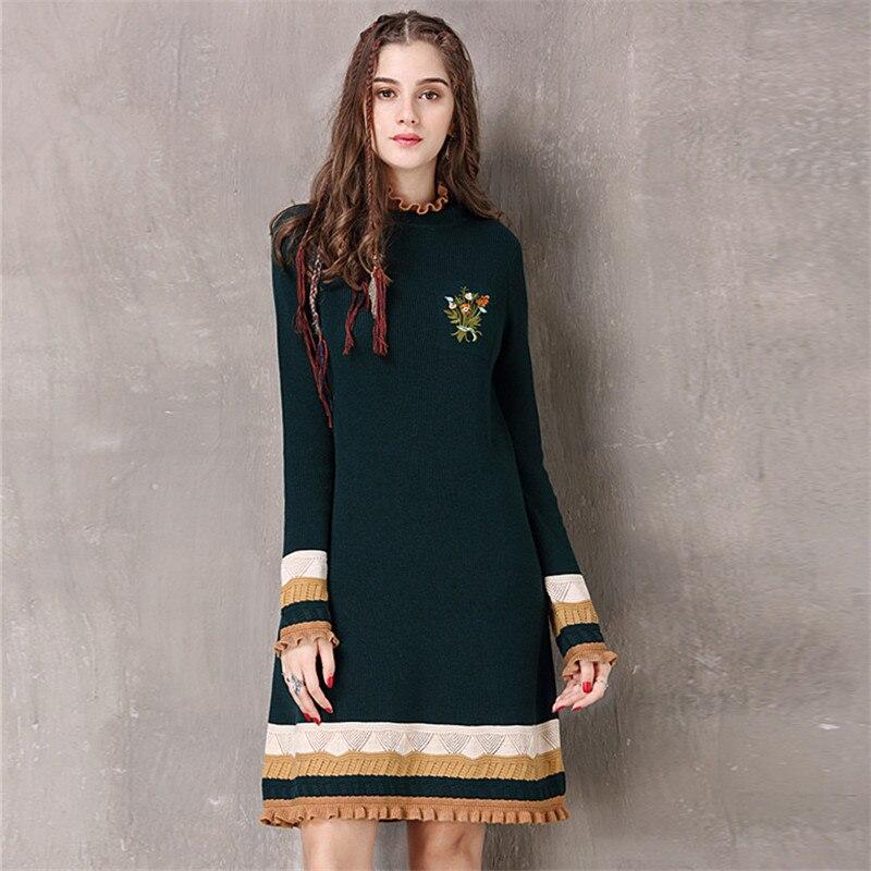 Vintage Winter Sweater Dress Women Green Casual Elasticity Cotton Dresses Autumn Knitting Ruffles-Neck Long Sleeve Dresses