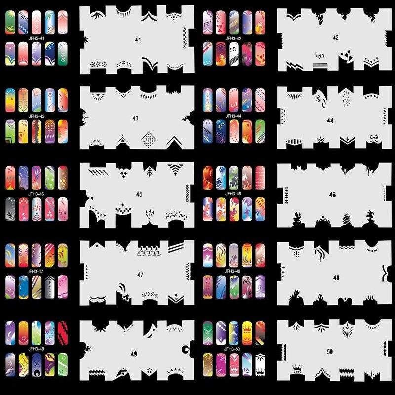 Set 5 260 Airbrush Nail Art STENCIL DESIGNS 20 Template Sheets Kit Brush Paint