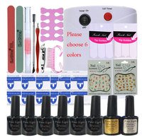 Nail Art Manicure Tool 36W UV Lamp + 6 Color 10ml uv Led Gel base top coat polish with French tip Remover Practice set File kit