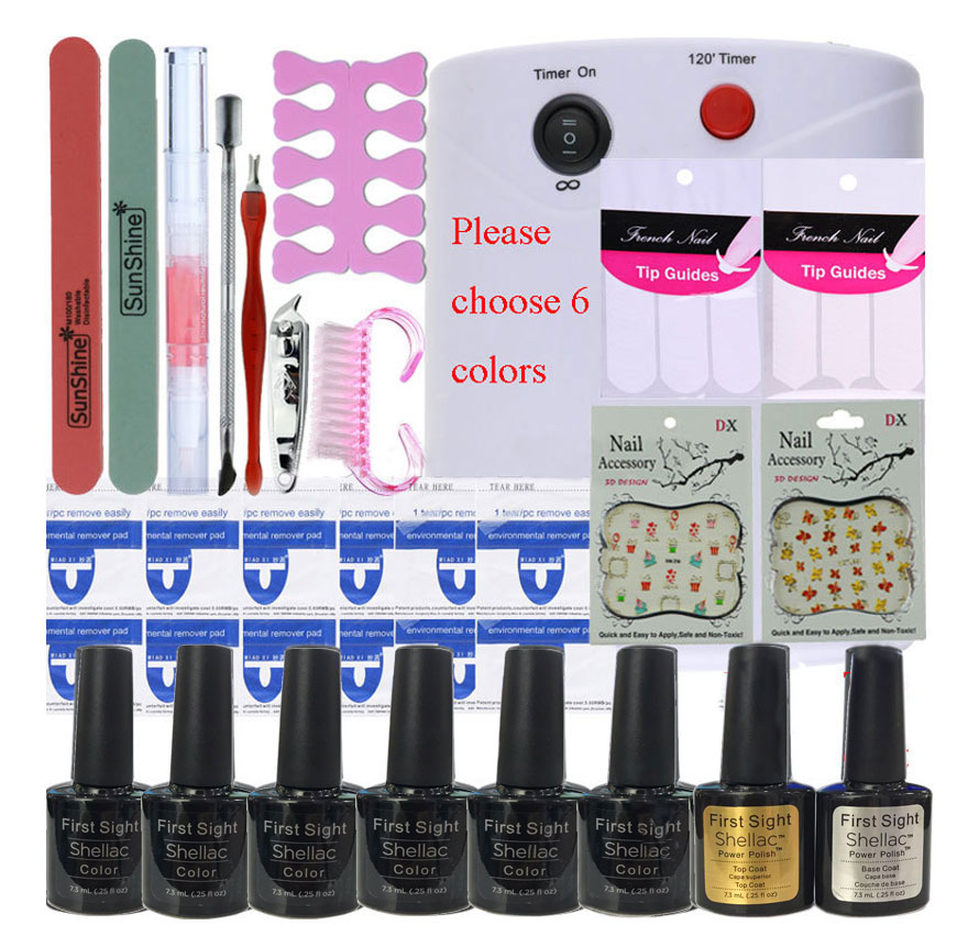 Nail Art Manicure Tool 36W UV Lamp + 6 Color 10ml uv Led Gel base top coat polish with French tip Remover Practice set File kit nail art manicure tool nail sticker 24w led lamp 6 color 10ml uv gel base top coat polish with french tip remover practice set