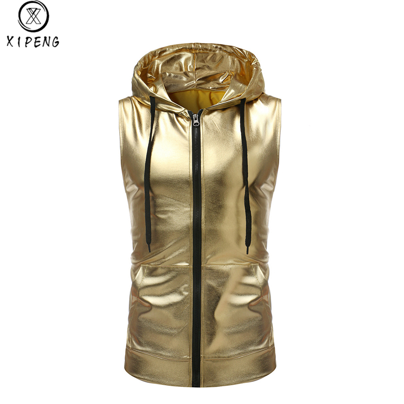 Shiny Gold Coated Metallic   Tank     Top   Men 2018 Brand New Hip Hop Sleeveless Hoodie   Tank   Male Nightclub Party Dance Zipper   Tops   Tee