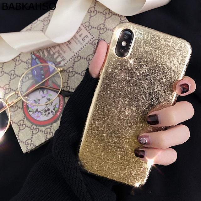 BABKAHSO Bling bling gold Girl Case For iPhone 8 8Plus...