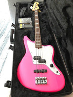 New high quality GYOB 66, Pink color solid body white plate with signature short scale 4 strings Jaguar Bass, Free shipping