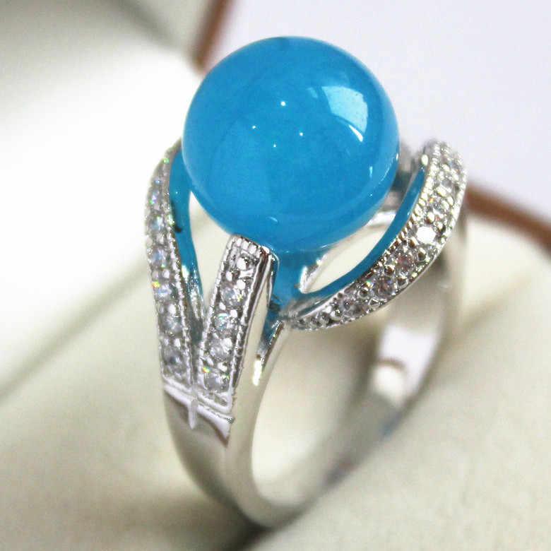 2017ใหม่บลูสกาย12มิลลิเมตรลูกปัดเงิน-สีฝังCZ Jadesของขวัญแหวนแฟชั่นสำหรับผู้หญิง