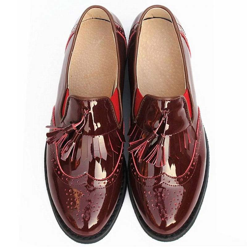 100% Genuine leather Women Shoes,Casual Ladies Bullock Carve Patterns Oxfords Low Heel Shoe Woman,Slip-on Tassel Loafers Brogues