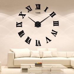 2018 New Big Mirror wall clock large size EVA wall stickers diy personality art 3D mirror wall mute clock home decoration clock
