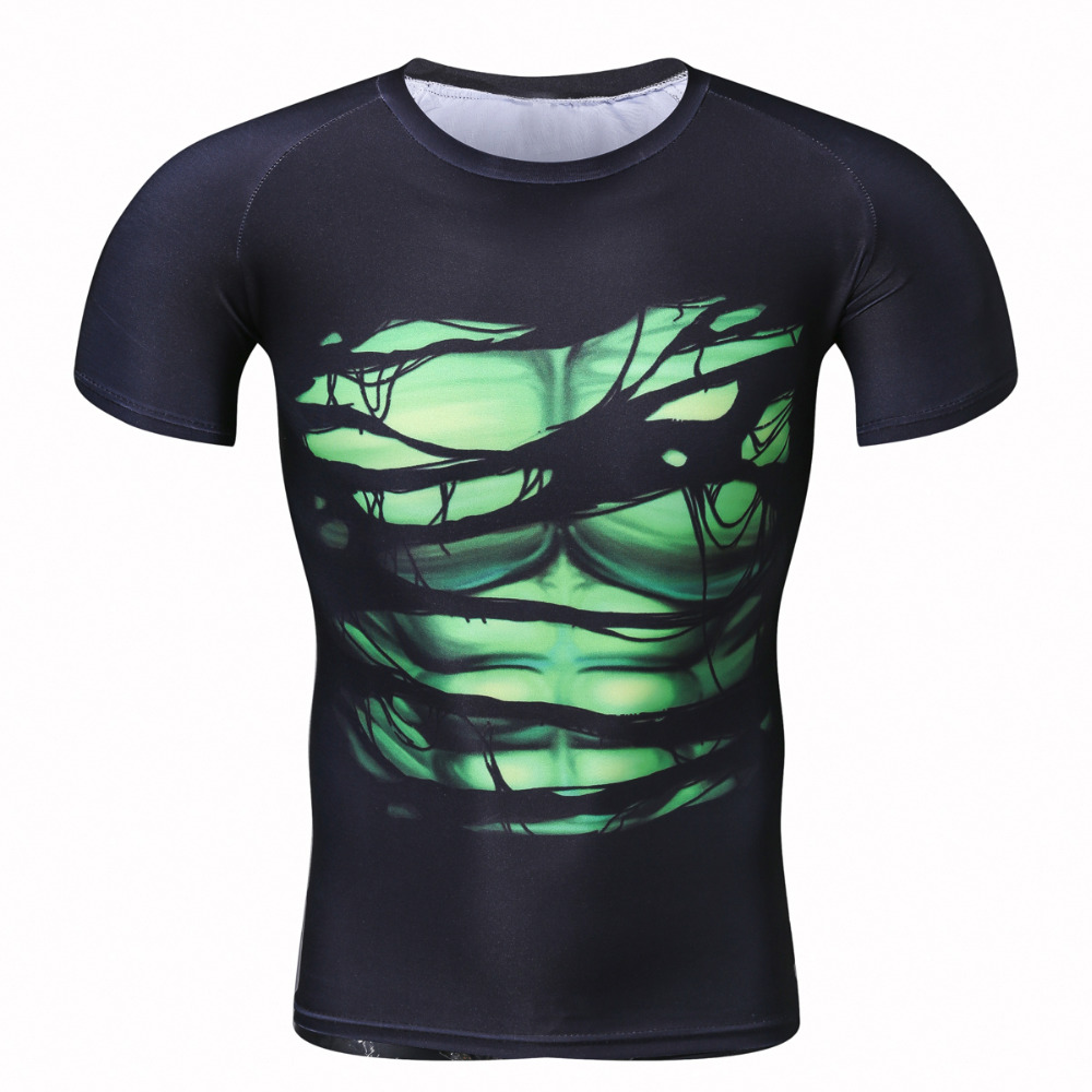 Maglietta creativa cool da uomo 2017 Green lantern Vs Maglietta superman fitness manica corta fitness bodybuilding 3D TAGLIA PLUS