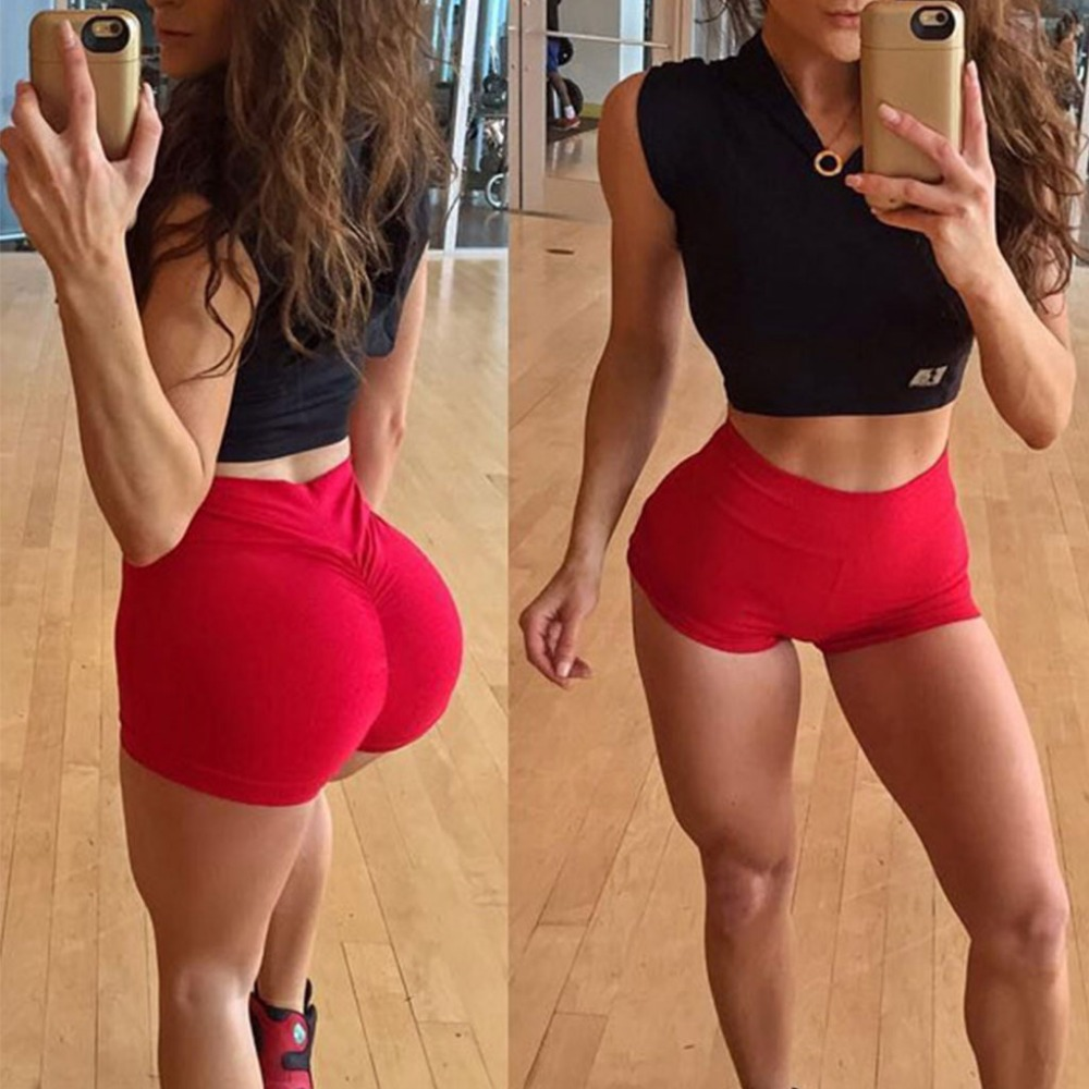 Women High Waist Back Ruched Hip Lifting Shorts Workout Stretch Gym Bottoms