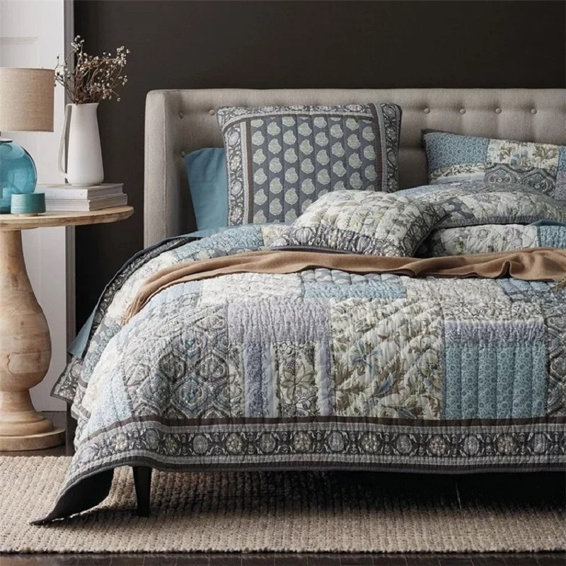 American Handmade Patchwork <font><b>Quilt</b></font> Set 3PCS Quilted bedding Cotton <font><b>Quilts</b></font> Cover Thick Bedspread Bed Covers King Size Coverlet