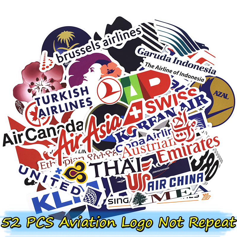 52 pcs aviation logo stickers for skateboard bicycle motorcycle car styling laptop home decor cool graffiti