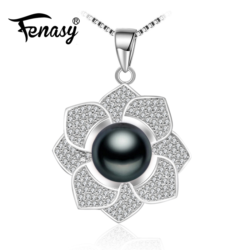FENASY 925 sterling silver flower necklace,fine pearl jewelry statement Pearl necklace for women Bohemian rose pendant for love alloy rose flower pendant necklace