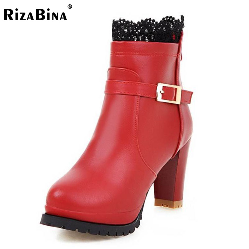 RizaBina Size 33-43 Sexy Lady High Heel Boots Lace Metal Buckle Half Short Boots Warm Shoes Women Mid Calf Botas Women Footwear stylish women s mid calf boots with solid color and fringe design