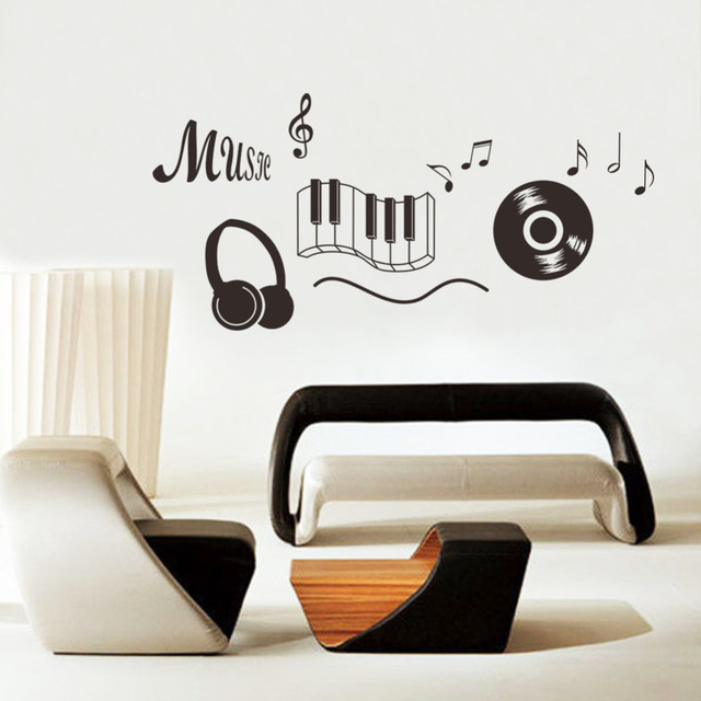 Music Sticker Headphones Theme Music Bedroom Decor Dancing Music Note Removable Wall Sticker Adesivo De Parede