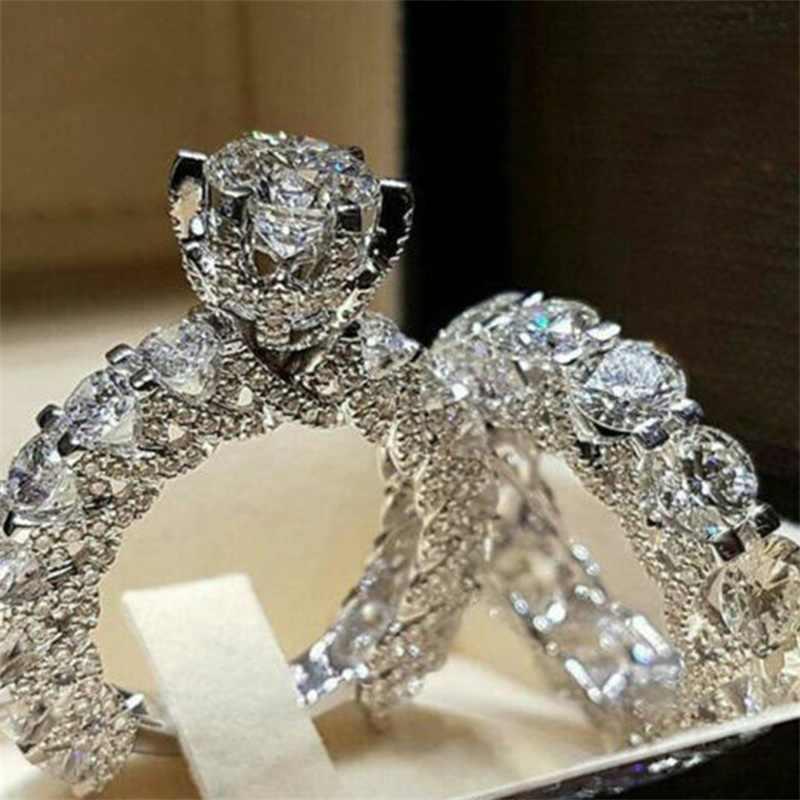 Айленд принимает пользовательские ювелирное кристаллическое кольцо набор европейских и американских инкрустированные стразами модные парные кольца женские вечерние подарок