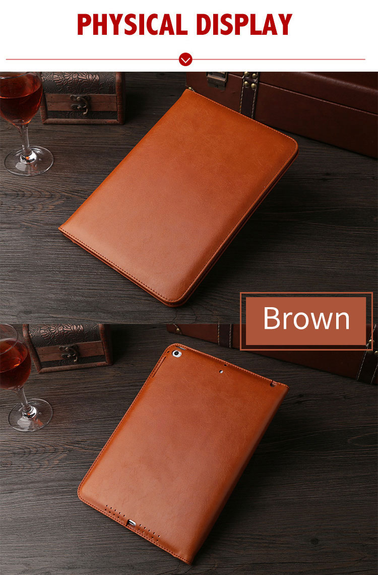 brown Leather retro style smart portfolio case for iPad Pro 9.7 10.5 12.9 (1st, 2nd)