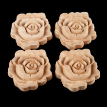 4Pcs 7*7cm Rose Woodcarving Corner Decal Unpainted Wood Carved Onlay Applique Frame for Home Furniture Cabinet Door