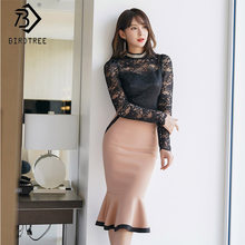 Lente Vrouwen Set Black Lace Hollow Out Lovertjes Coltrui Tops Patchwork Mermaid Rok Lange Mouw Kantoor Lday Pak S91124I(China)