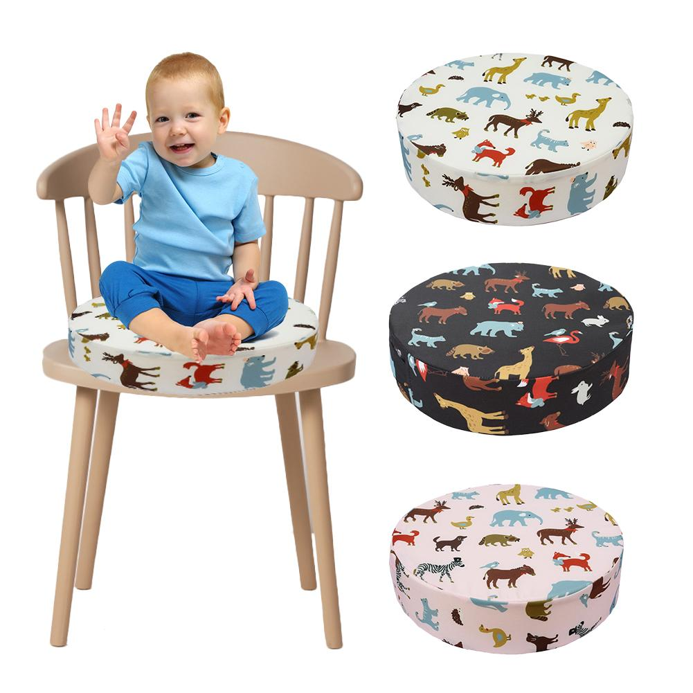 Children Dining Chair Heightening Cushion Dining Chair Pad Animal Pattern Round Removable Kids Highchair Seat Cushion