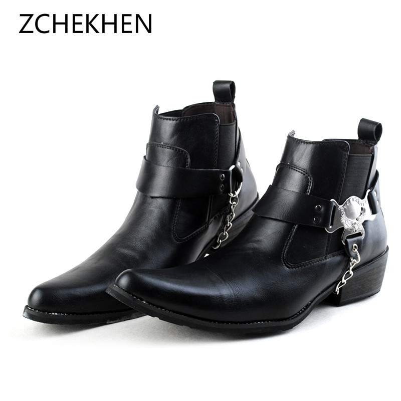 купить British Punk Leather Men Ankle Boots Pointed Toe chain metal Mens Military Cowboy Chelsea Boots High Top Strap Cool Men Shoes по цене 3467.87 рублей