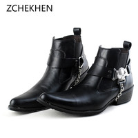 British Punk Leather Men Ankle Boots Pointed Toe chain metal Mens Military Cowboy Chelsea Boots High Top Strap Cool Men Shoes