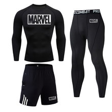 Top marque MARVEL hommes vêtements de compression d'hiver pour hommes Leggings de sport ensemble Fitness course ensemble hommes MMA T-Shirt collants(China)