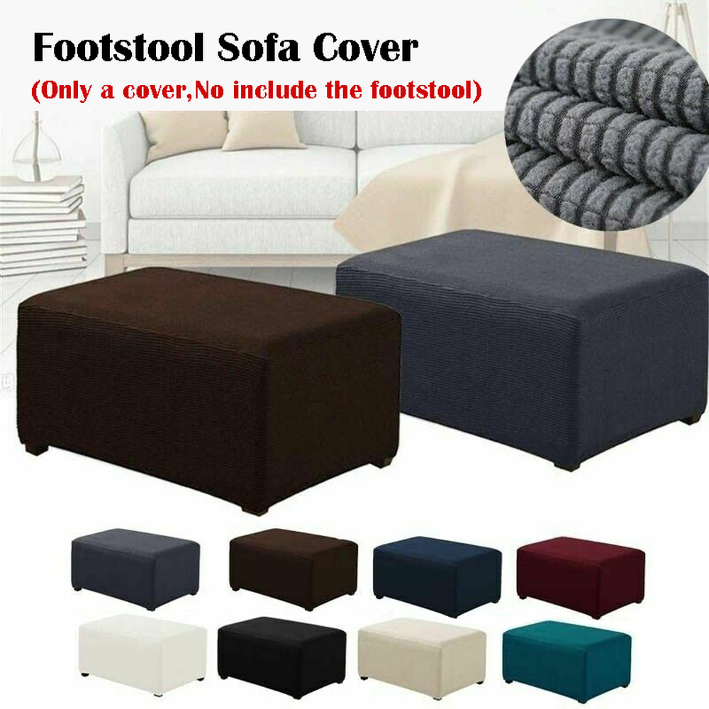 Stretchable Elastic Folding Ottoman Cover Footrest Stool Slipcovers