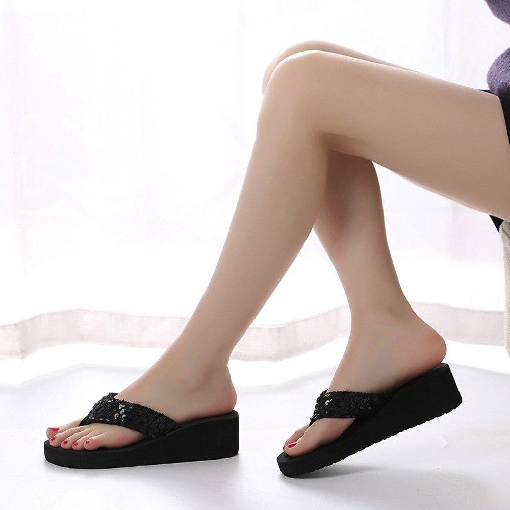 HTB1Vga2cL1H3KVjSZFHq6zKppXaF Summer Women Flip Flops Casual Sequins Anti-Slip slippers Beach Flip Flat Sandals Beach Open Toe Shoes For Ladies Shoes #L5