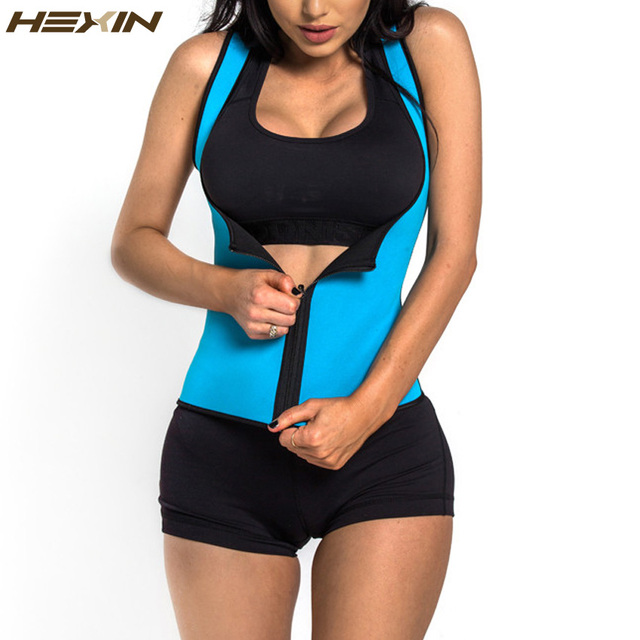 HEXIN Neoprene Zip Waist Trainer Latex Vest Body Shaper Women Slimming Waist Corset Fajas Shapewear Workout Waist Body Corset