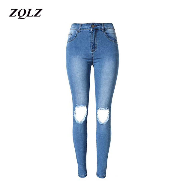 ZQLZ Summer High Waist Ripped Pencil Pants S-3XL Stretch Skinny Ture Jeans Woman Washed Ruched Denim Trousers