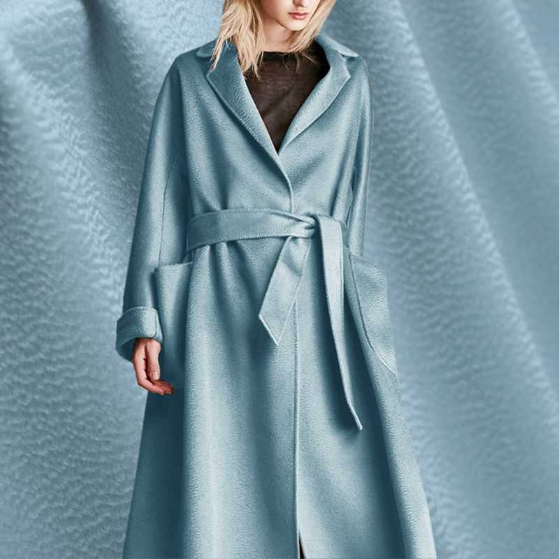 Silver lake blue mulberry silk water corrugated cashmere fabric for coat tissu au metre telas tecidos tissus sewing christmas