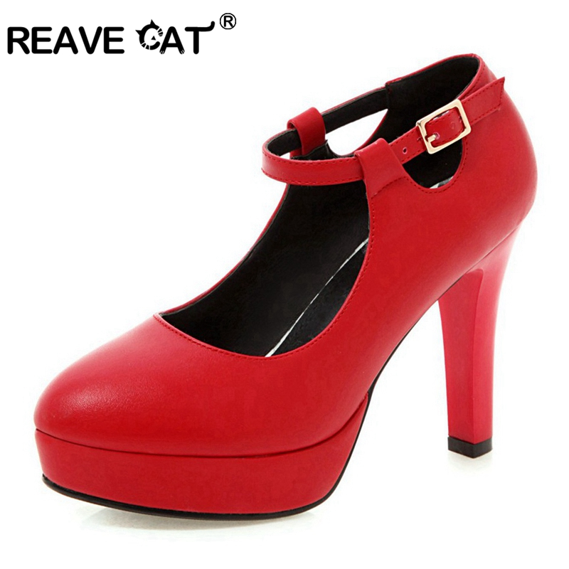 REAVE CAT Women s pumps High heels Round toe Buckle Platform Spring summer Black White Red