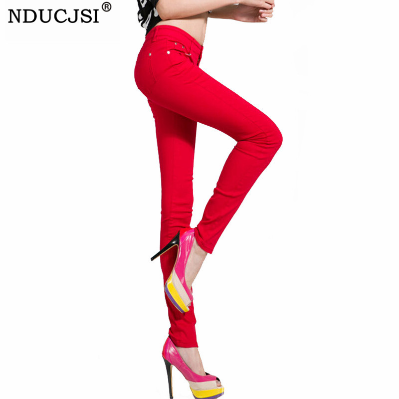 NDUCJSI Casual Jeans Women Jeans Cotton Pencil Legins Femme Skinny Jeans Mid Waist Woman Slim Fit Woman Full Length Candy Color