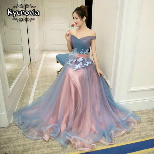 2 Styles Sleeveless Floor Length Prom Dress Lace Up Long Prom Dress Blue Strapless Evening Dress Appliques Prom Dresses FD29 4