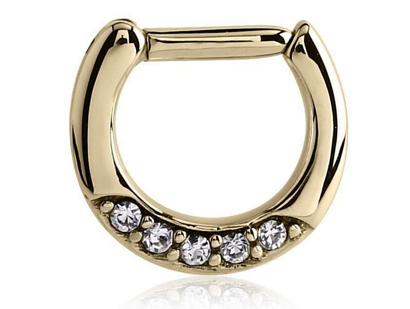 1 Pcs Gold Color Plated Surgical Steel Body Nose Ring Septum