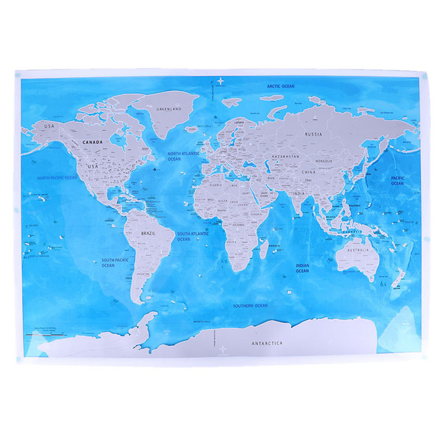 Map Of World And Oceans.Deluxe Scratch Edition World Map Travel World Poster Map Oceans Diy