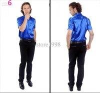 Hot Sale Men Short Sleeve Wedding Groom Silk Shirts 9 Colors Bridegroom Shirt high quality custom fashion style blue color