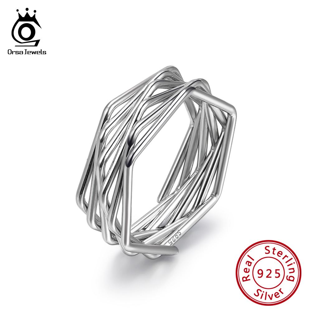 ORSA JEWELS Sterling Silver Real 925 Women Rings Twisted Knot  Style Silver Ring For Female Fashion Simple Jewelry SR128