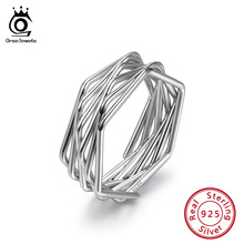 ORSA JEWELS Sterling Silver Real 925 Women Rings Twisted Knot  Style Ring For Female Fashion Simple Jewelry SR128