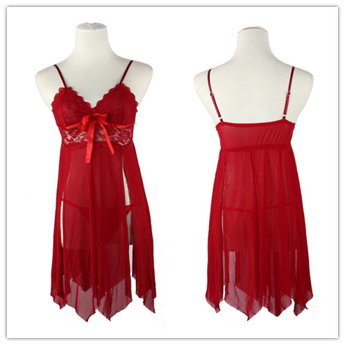 New Sexy Babydoll Sleepwear Night G String Set Women Red Nightgowns Party Favor Game Clothes