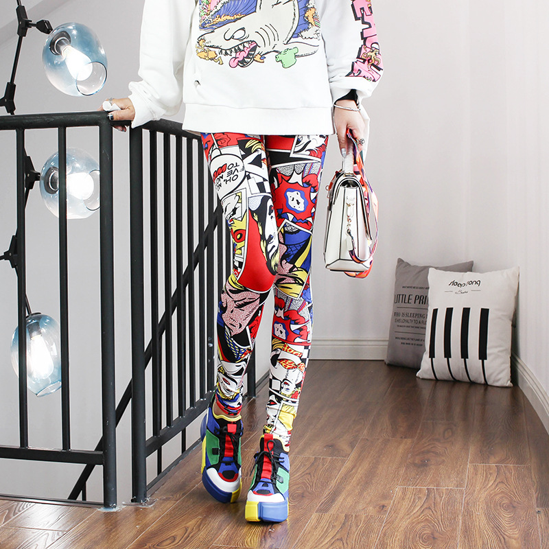2019 Women Leggings High Waist Cartoon Comic Beauty Print Trousers Soft title=