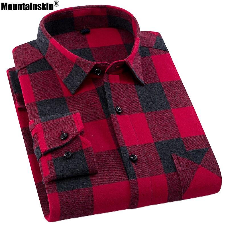 dc2f96c2490 Mountainskin фланель Для Мужчин s Рубашки в клетку из 2019 хлопка  Демисезонный Повседневная рубашка с длинным рукавом