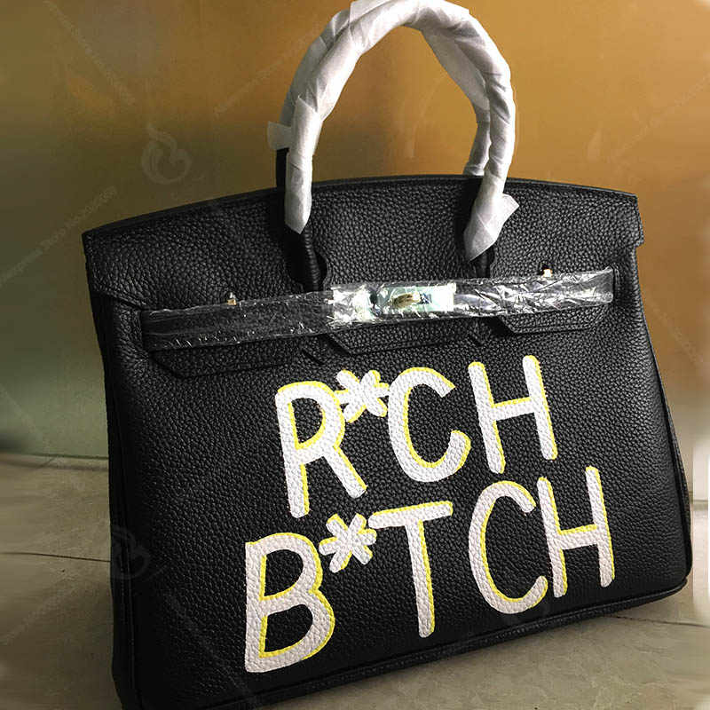 ... Women handbags Genuine Togo Leather Tote Bags For Women Designer  Handbag Luxury Brand Graffiti Art Letter ... 837fa68618473