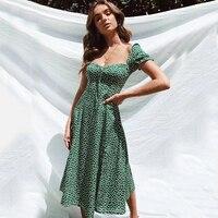 KHALEE YOSE Summer Polka Dot Long Dress 2019 Dark Green Women Dresses Backless Short Sleeve Split Sexy Boho Casual Beach Dress