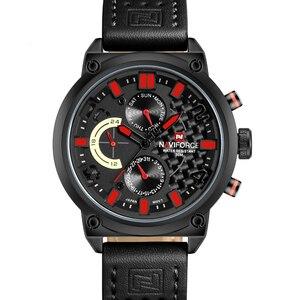 Image 2 - Naviforce Luxe Merk Man 3ATM Waterdicht Klok Mannen Analoge Quartz 24 Uur Datum Horloges Mannen Sport Lederen Horloge Original