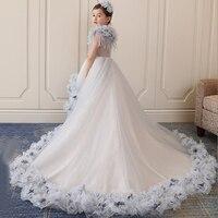 Королевский платье принцессы Аппликации бальное платье Свадебная вечеринка дети Нарядные платья Роскошные девушки святое причастие плать
