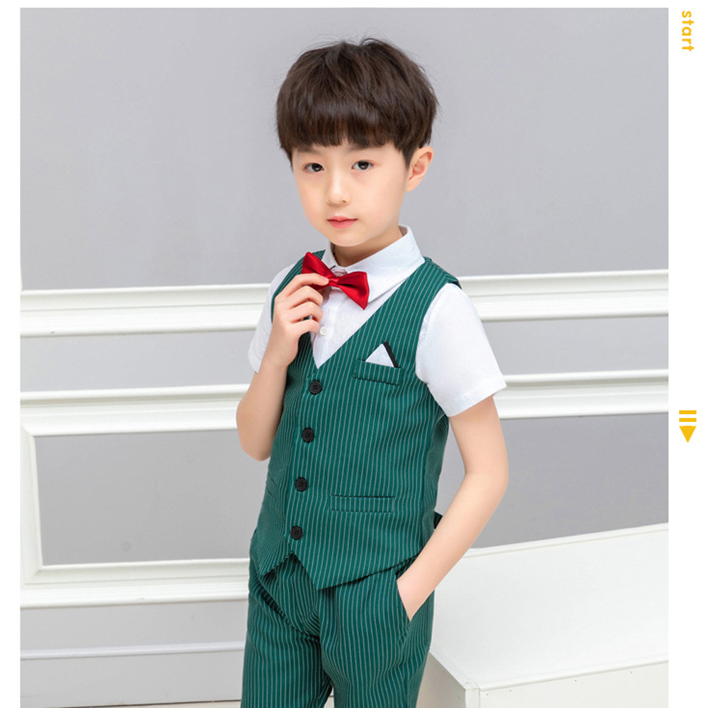 8ce513d2f Summer Boys Weddings Blazer Suit Kids Cotton Blouse+Vest+Pants+Tie 4 pieces