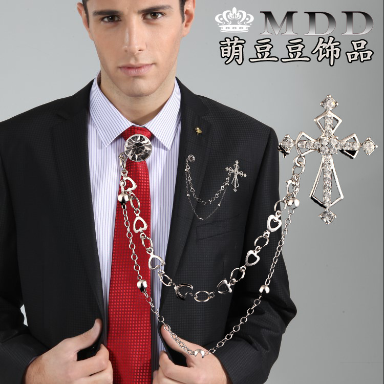 Hot Euramerican Alloy Crystal Cross Suit Brooches Men Clothing Accessories Fashion Jewelry Men's Chain Tassel Brooch Pins