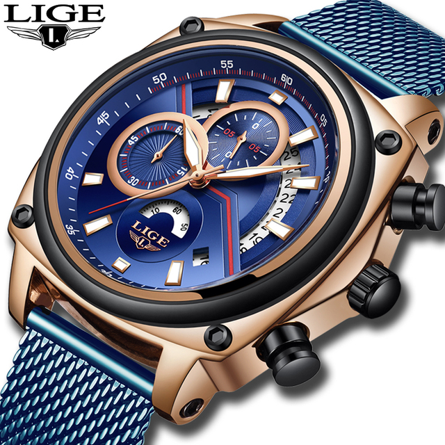 LIGE Luxury Casual Blue Clock Military Waterproof Chronograph Men Quartz Watches