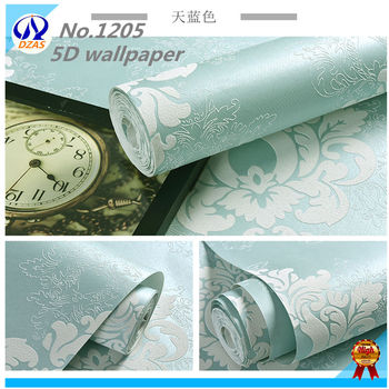 Light Blue andFor bedroom Pink color 3D Super luxurious with Diamonds damascus wallpaper European 5D Non woven wallpaper roll