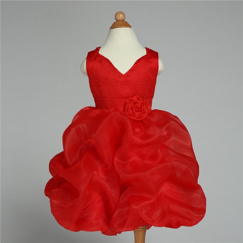 2019 Marka Formalna Flower Girl Dress Czerwona V-neck Wedding - Ubrania dziecięce